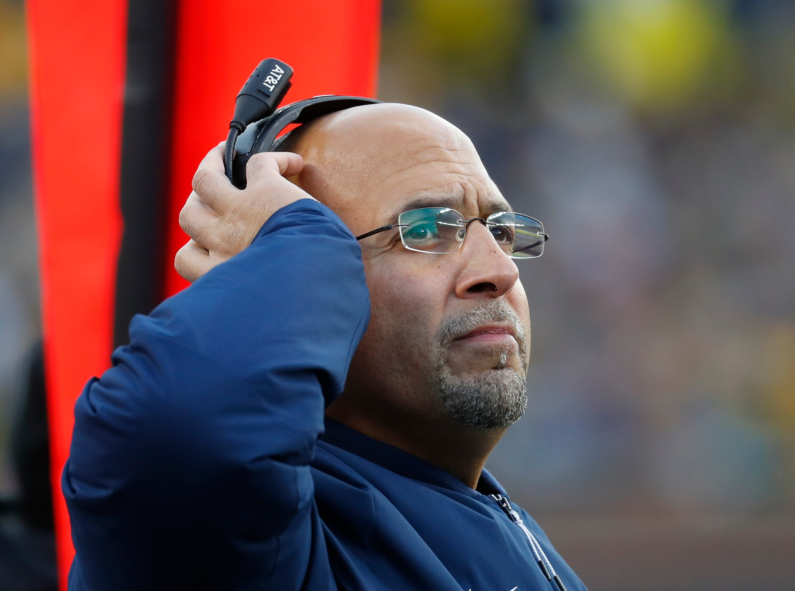 Penn State head coach James Franklin watches against Michigan in the second half of an NCAA college football game in Ann Arbor, Mich., Saturday, Nov. 3, 2018. (AP Photo/Paul Sancya)