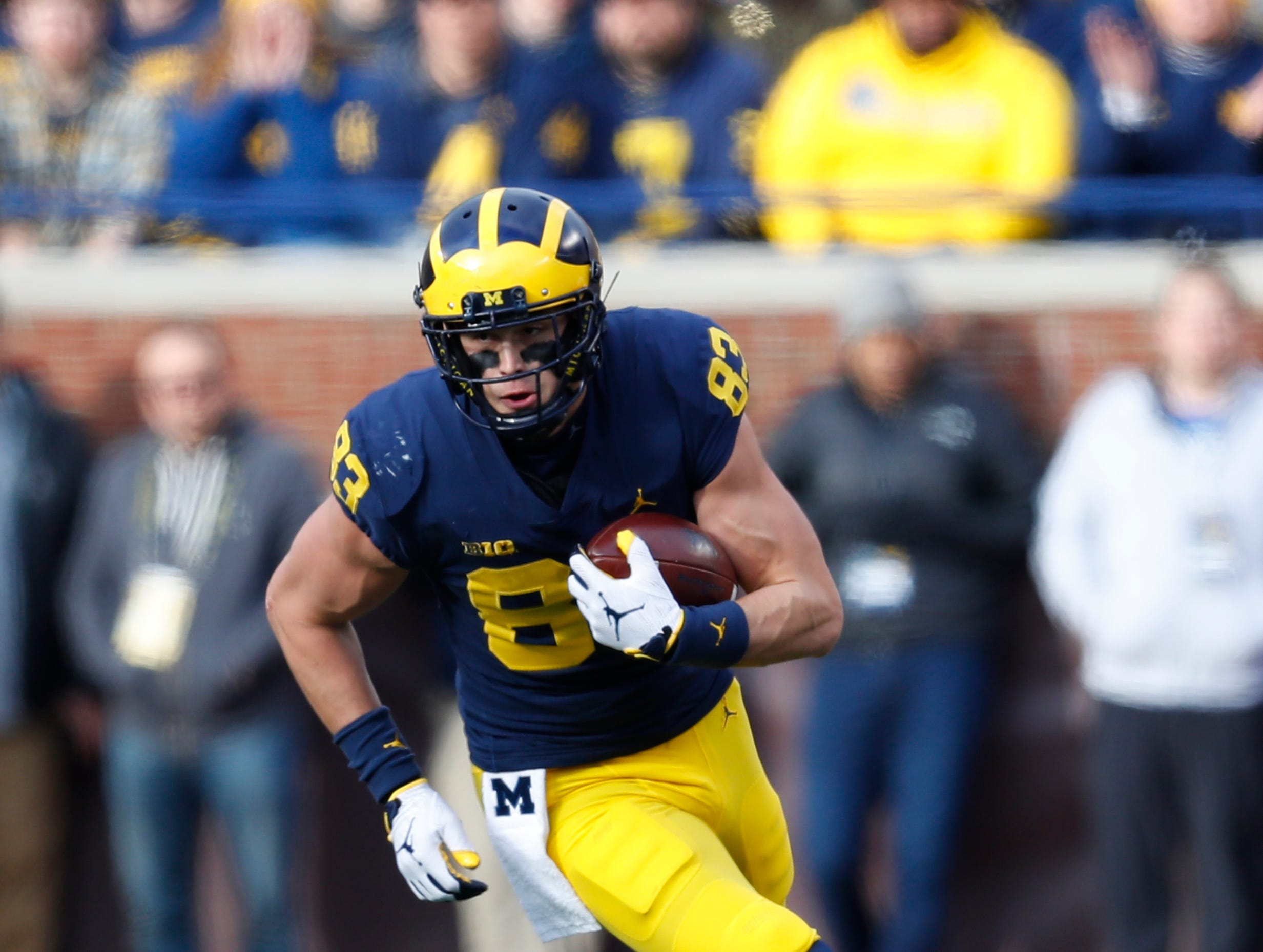 Michigan tight end Zach Gentry (83) runs after a catch against Penn State in the first half of an NCAA college football game in Ann Arbor, Mich., Saturday, Nov. 3, 2018. (AP Photo/Paul Sancya)
