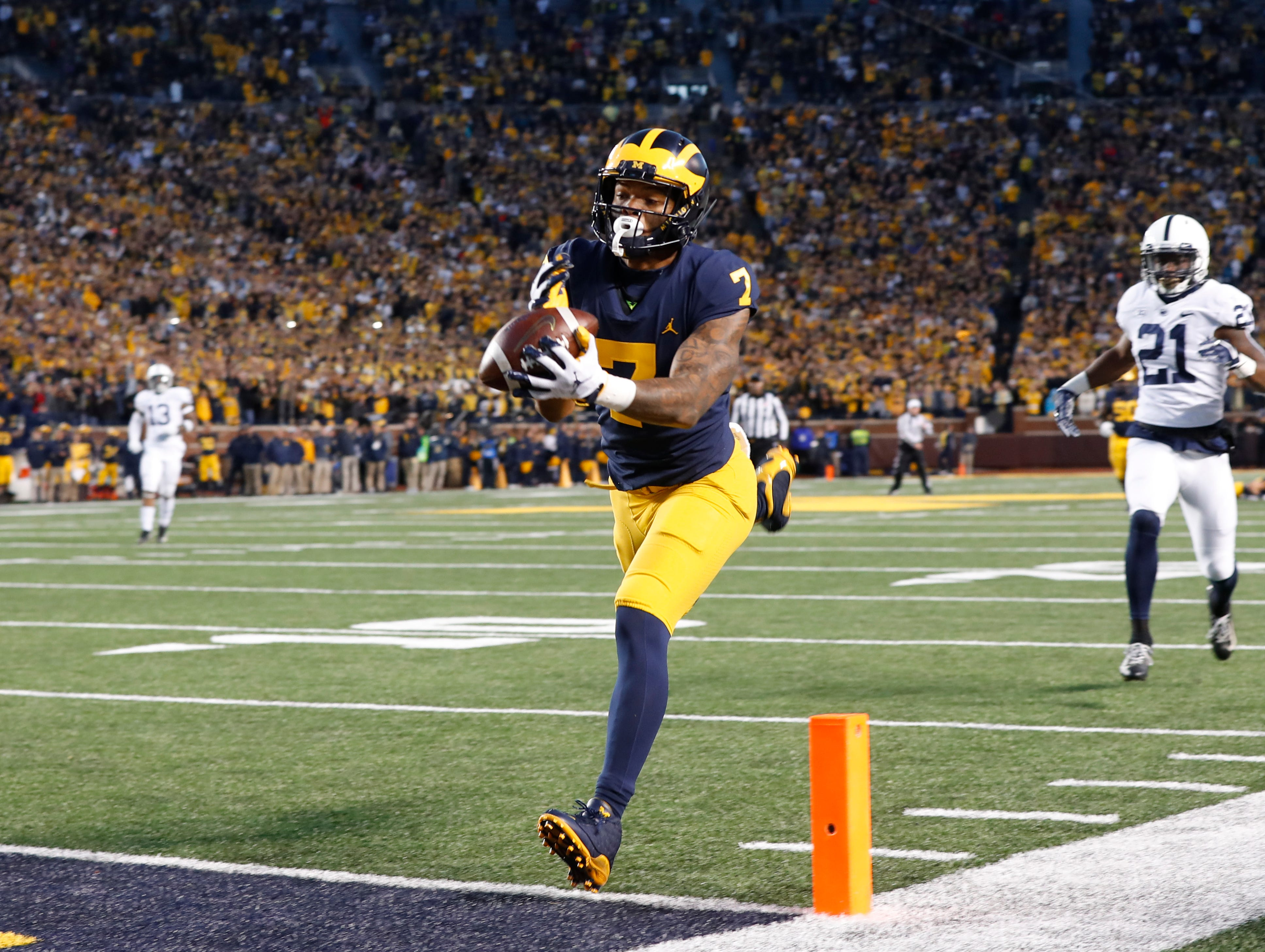 Michigan wide receiver Tarik Black (7) catches a pass in the end zone which was called back for a penalty in the second half of an NCAA college football game against Penn State in Ann Arbor, Mich., Saturday, Nov. 3, 2018. (AP Photo/Paul Sancya)