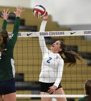 Reno's Mia Fearnley goes up against Damonte Ranch in the regional volleyball semifinals at Spanish Springs on Nov. 1.