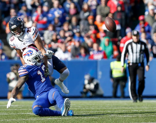 Nov 4, 2018; Orchard Park, NY, USA; Chicago Bears cornerback Kyle Fuller (23) rips the ball from Buffalo Bills wide receiver Terrelle Pryor (10) during the first half at New Era Field.