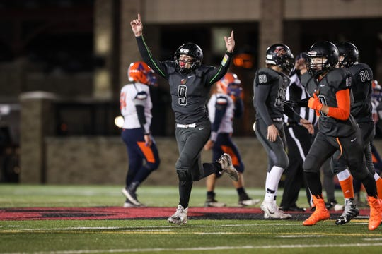 November 3, 2018; Pittsford, NY; USA; Letchworth/Warsaw quarterback Tom Standera (9) celebrates the final seconds of their 13-7 victory over the Attica Blue Devils during the Section V Class C championship high school football game at St. John Fisher College.  Photo: Christopher Cecere
