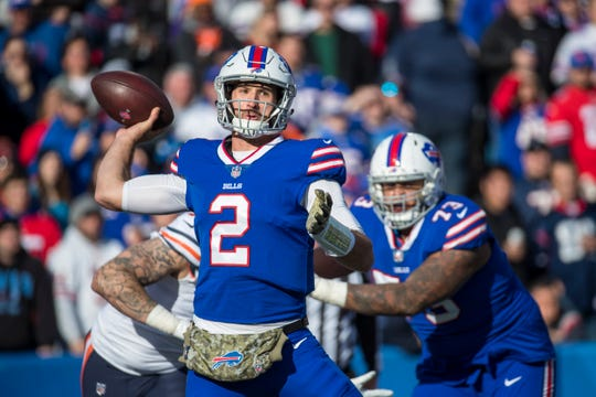 Nathan Peterman of the Buffalo Bills passes the ball during the second quarter against the Chicago Bears at New Era Field on Nov. 4