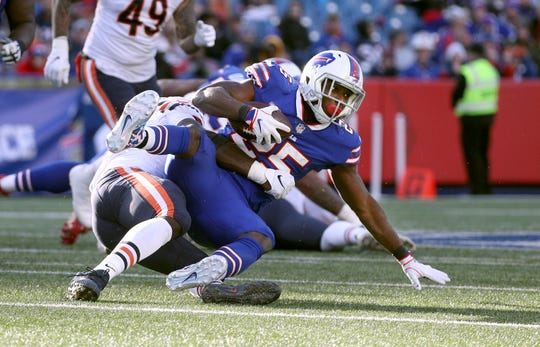 Bills running back LeSean McCoy struggled most of the 2018 season, finishing with career lows in  rushing yards (514) and average yards per carry (3.2).