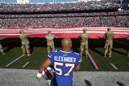 Bills linebacker Lorenzo Alexander during the National Anthem.