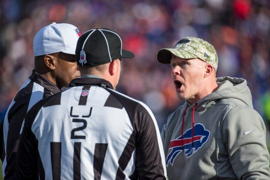 ORCHARD PARK, NY - NOVEMBER 04:  Head coach Sean McDermott of the Buffalo Bills complains about the lack of a pass interference call on a second quarter interception by the Chicago Bears at New Era Field on November 4, 2018 in Orchard Park, New York.  (Photo by Brett Carlsen/Getty Images)