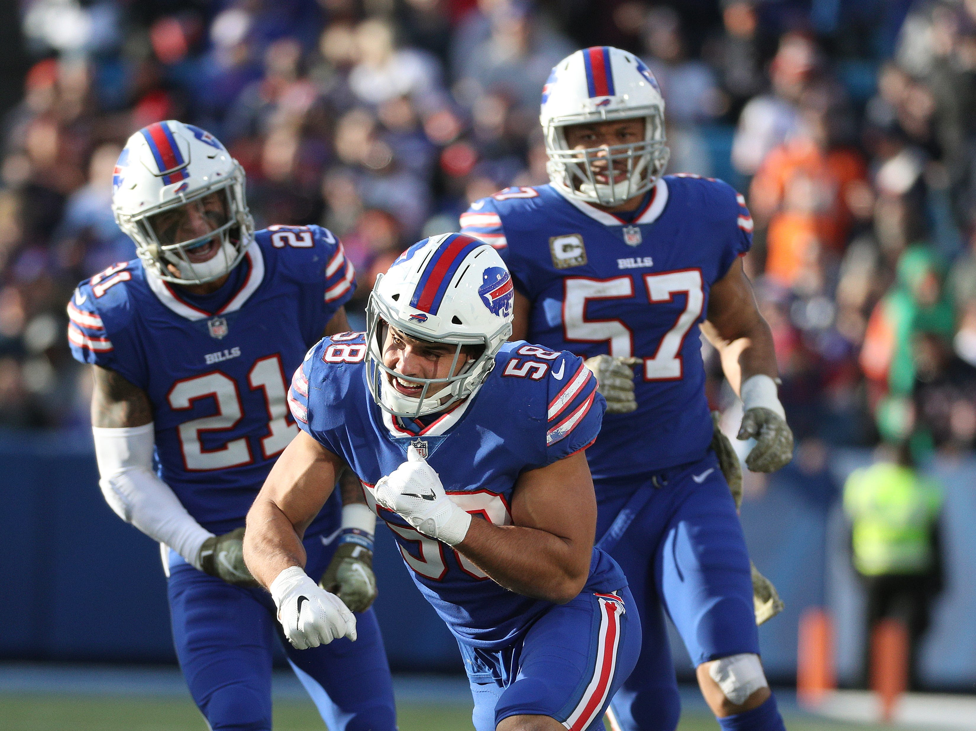 Bills linebacker Matt Milano celebrates a defensive stop.