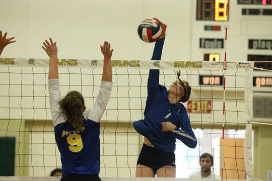 Kennedy Kremer (7) looks to score a kill in the Division IV Northern Section volleyball championship on Saturday, Nov. 3. Pierce won the match in three sets over U-Prep, 25-23, 25-21, 25-22.