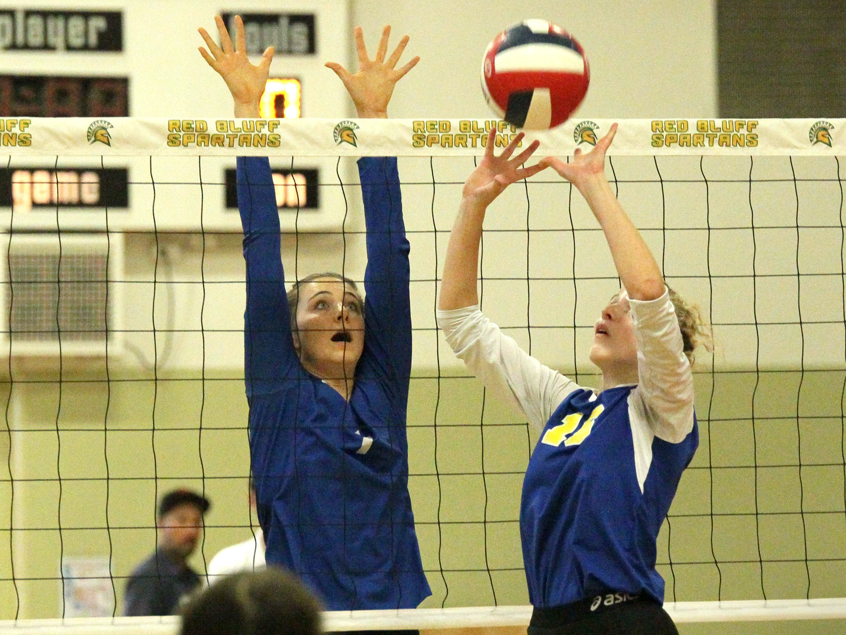 A Pierce player sets the ball during the Division IV Northern Section volleyball championship on Saturday, Nov. 3. Pierce won the match in three sets over U-Prep, 25-23, 25-21, 25-22.