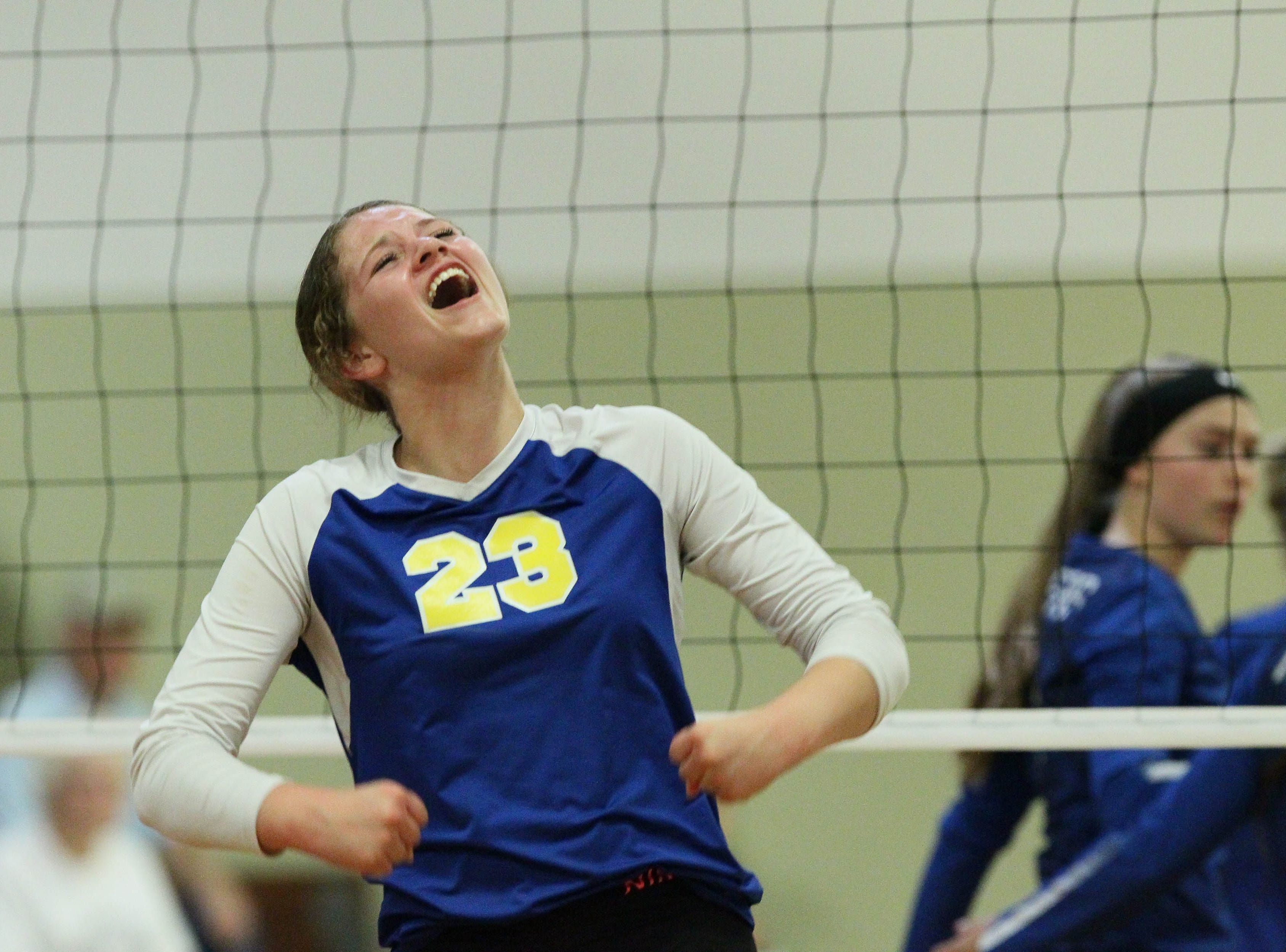 Pierce captain Callie Muniz reacts to a play during the Division IV Northern Section volleyball championship on Saturday, Nov. 3. Pierce won the match in three sets over U-Prep, 25-23, 25-21, 25-22.