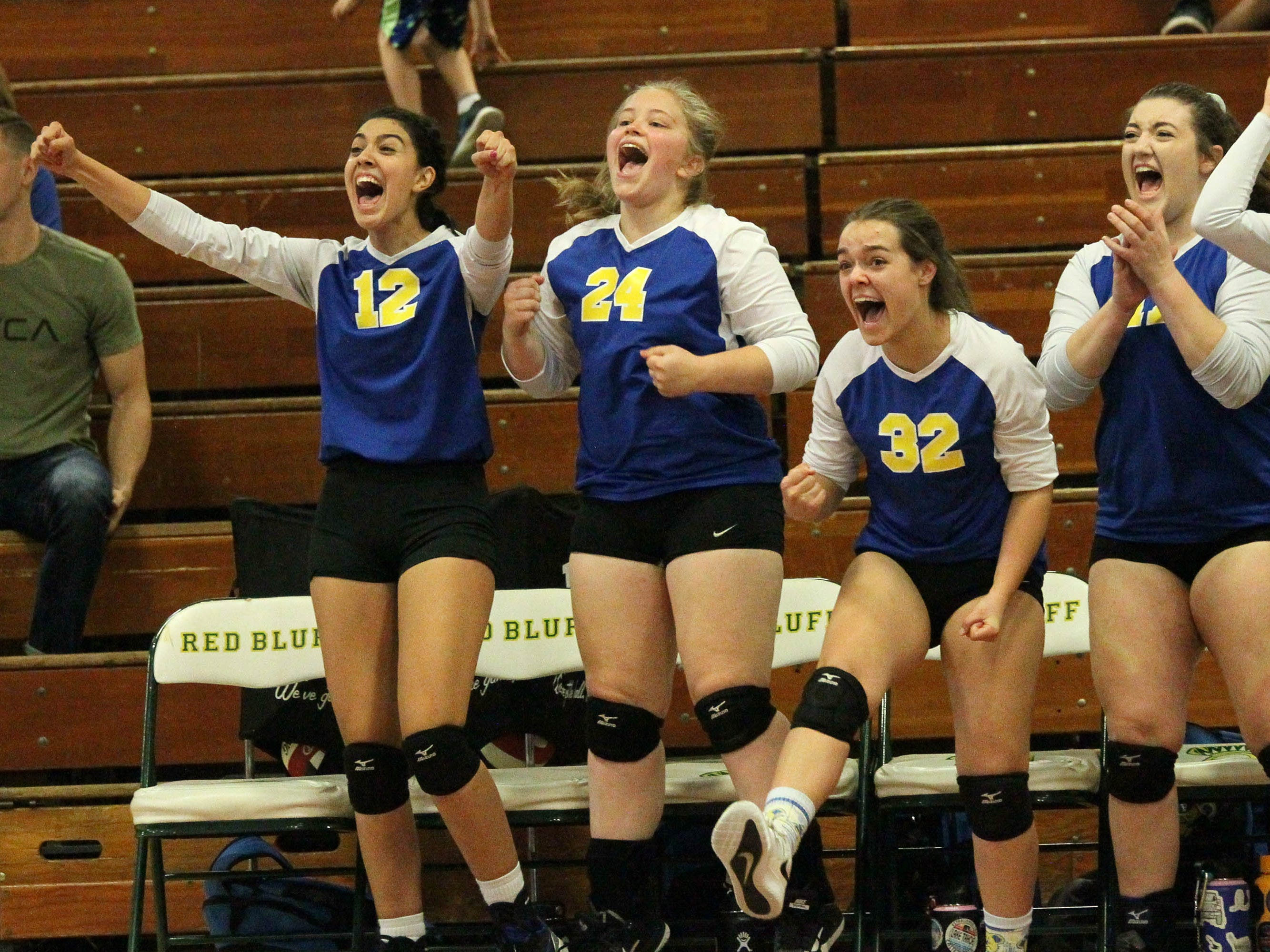 The Pierce bench cheers on their teammates in the Division IV Northern Section volleyball championship on Saturday, Nov. 3. Pierce won the match in three sets over U-Prep, 25-23, 25-21, 25-22.