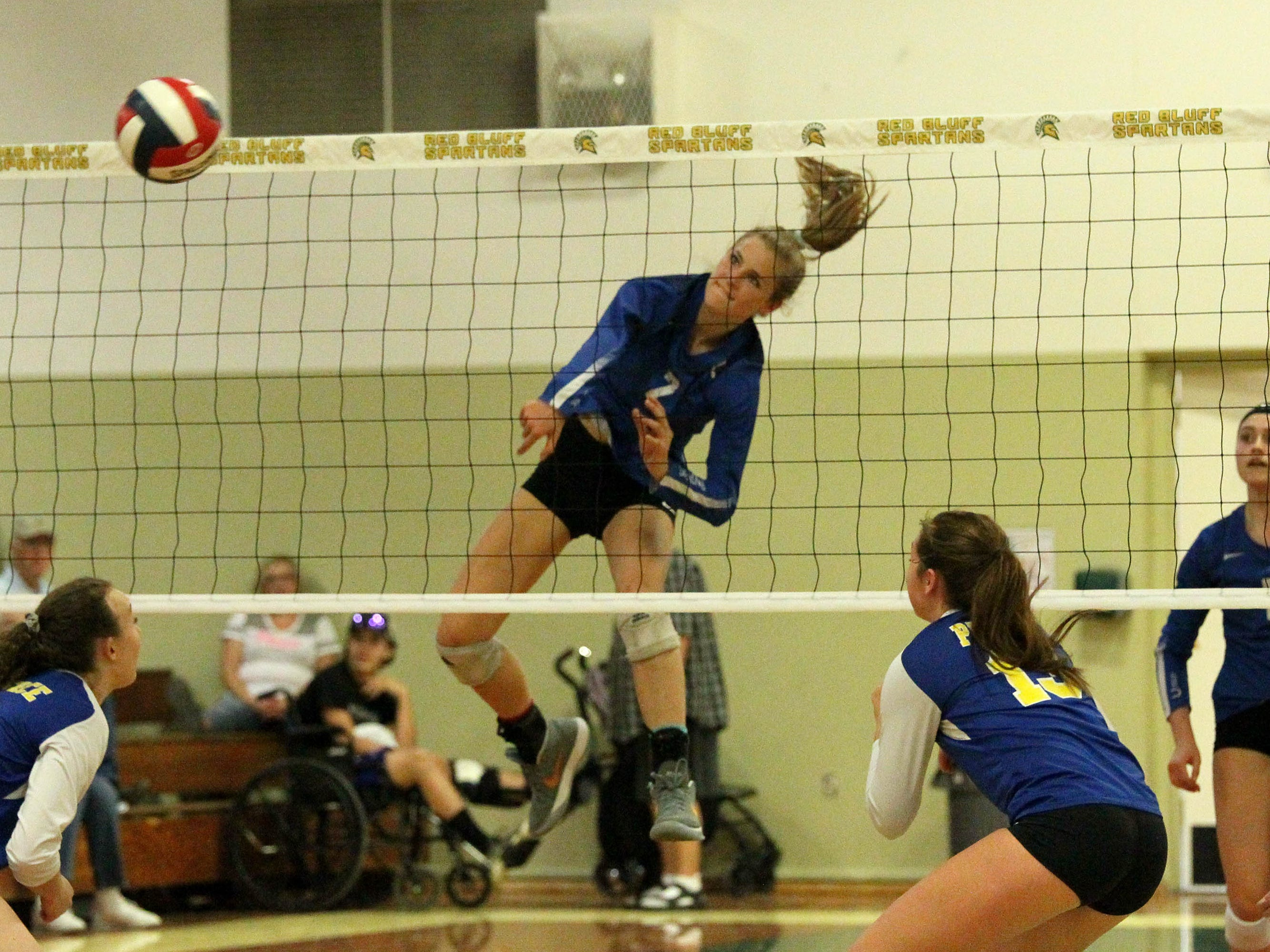 Madison Kremer (2) spikes the ball in the Division IV Northern Section volleyball championship on Saturday, Nov. 3. Pierce won the match in three sets over U-Prep, 25-23, 25-21, 25-22.