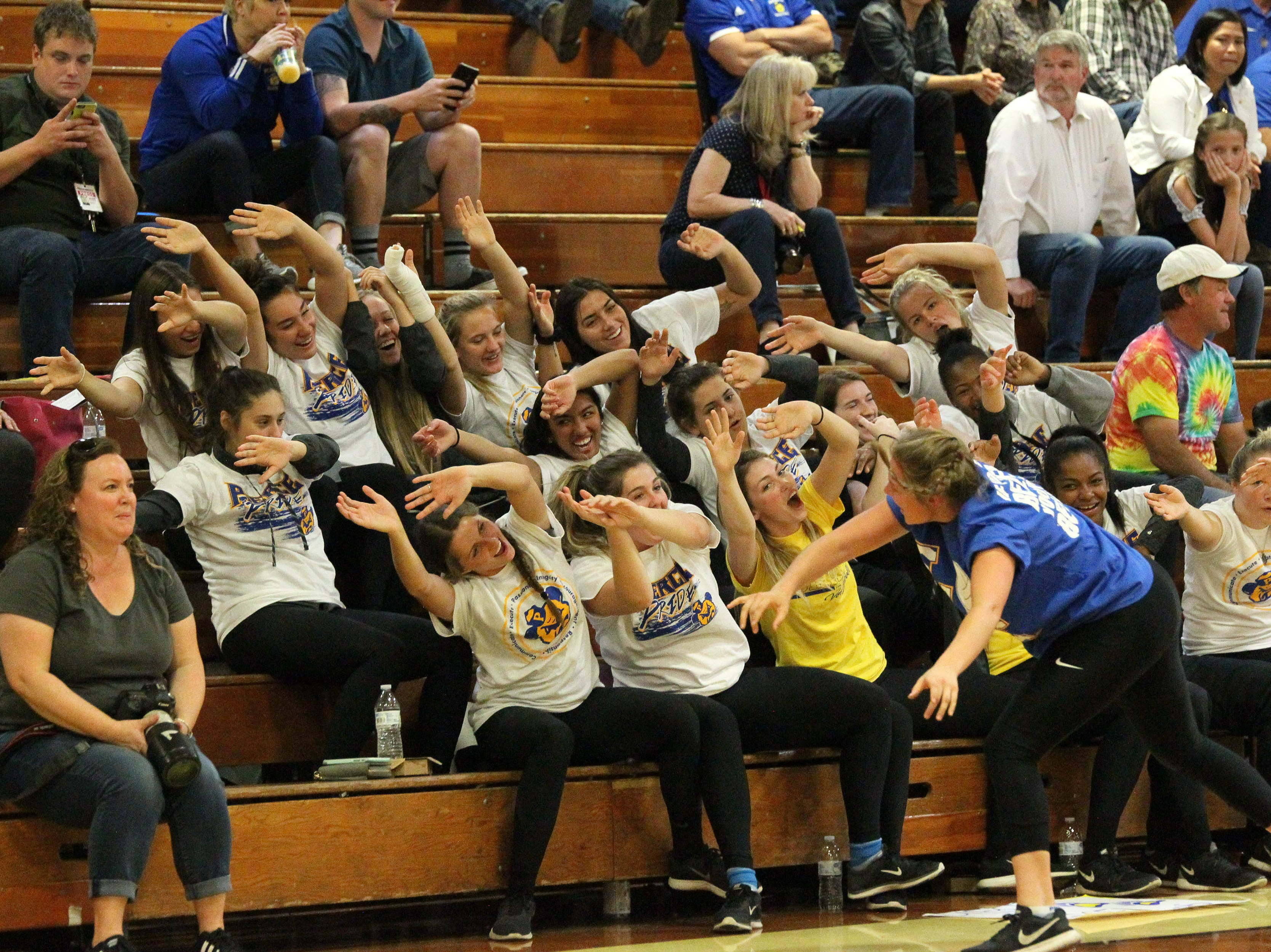Fans of Pierce cheer during the Division IV Northern Section volleyball championship on Saturday, Nov. 3. Pierce won the match in three sets over U-Prep, 25-23, 25-21, 25-22.