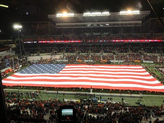 Oregon State-USC pregame at Reser Stadium, Nov. 3, 2018.