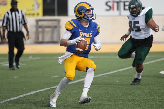 Quarterback Payne Sullins led the Angelo State University football team to a  34-17 win against Eastern New Mexico at LeGrand Stadium at 1st Community Credit Union Field on Saturday, Nov. 3, 2018.