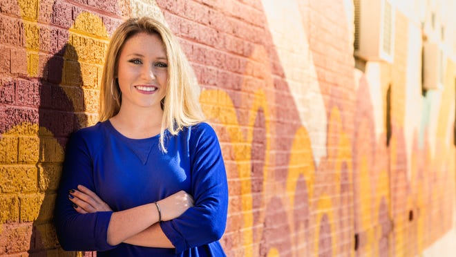 Angelo State University graphic design student Presley Rumsey is leaving her artistic mark on San Angelo.