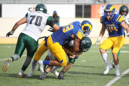 Angelo State University's Markus Jones records the 35th sack of his career in a 34-17 win against Eastern New Mexico at LeGrand Stadium at 1st Community Credit Union Field on Saturday, Nov. 3, 2018.