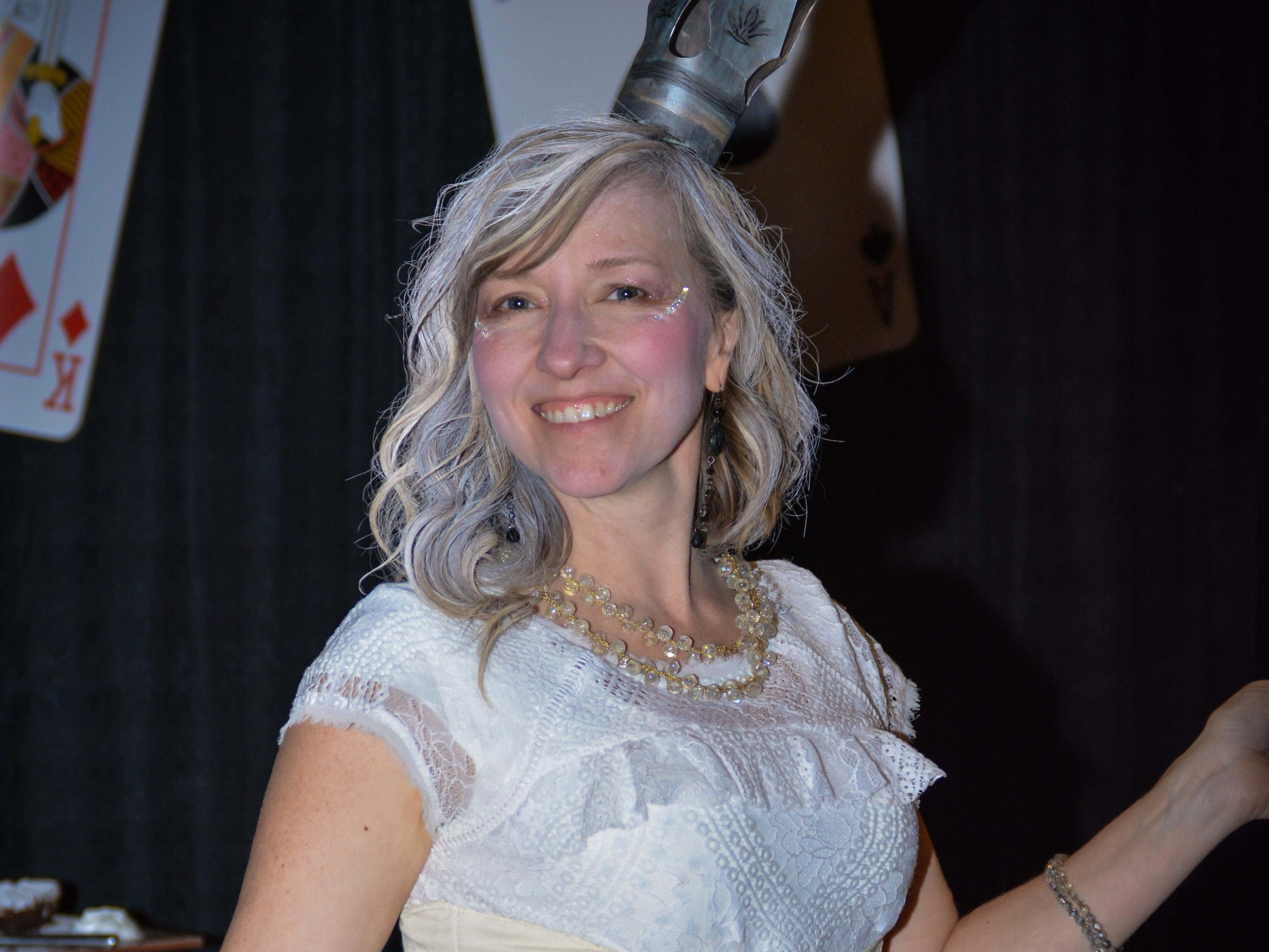 """Jessica Pavlocovich pulled out all the stops with her White Queen costume at the Minds in Motion Museum """"A Wonderland Adventure Gala"""" on Nov. 3, 2018, held at the Wicomico Youth & Civic Center in Salisbury, Maryland."""