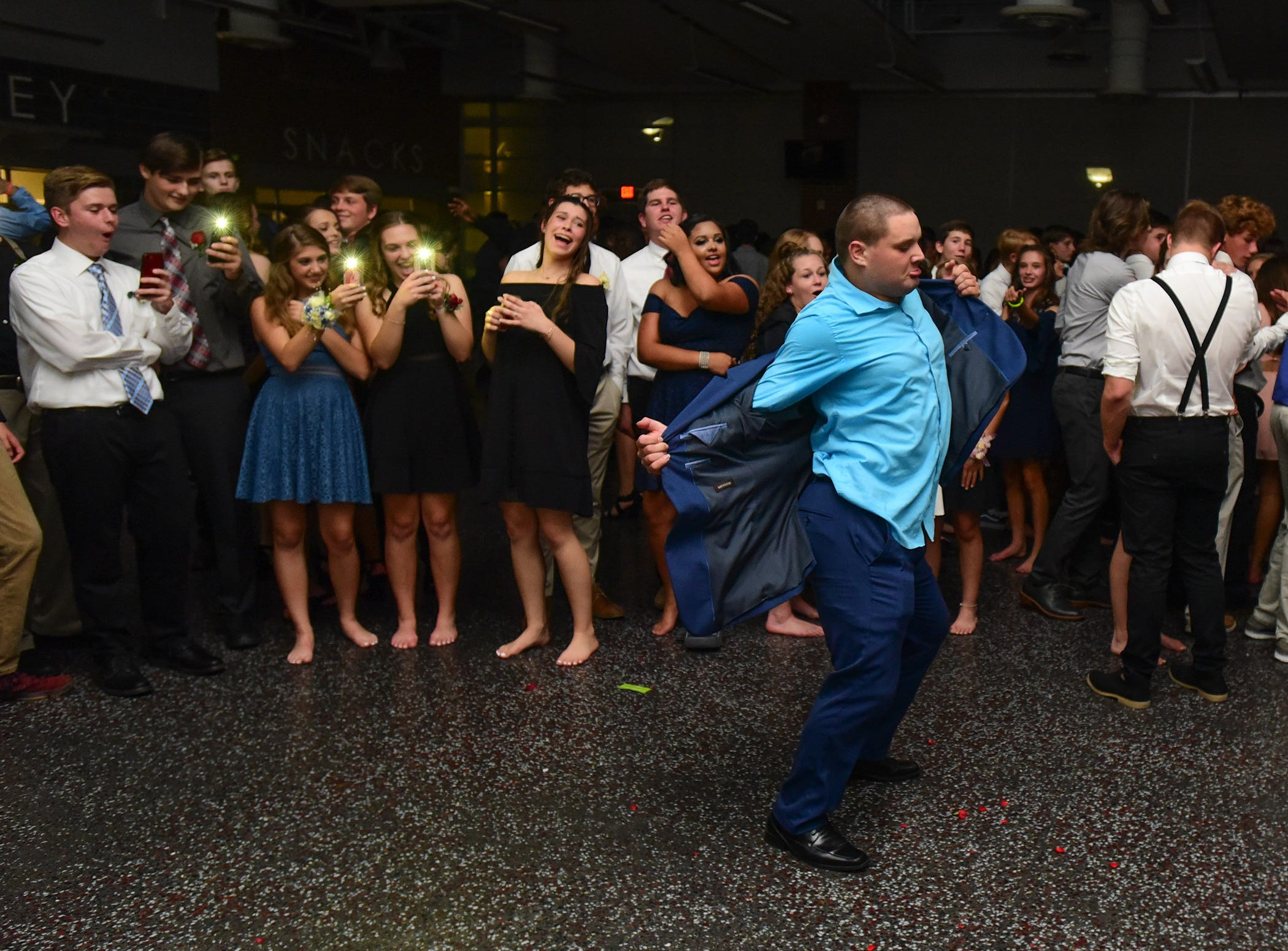 Keith Adams struts his stuff at James M. Bennett High School Homecoming Dance Saturday night at the school in Salisbury. 780 youth attended the annual dance.