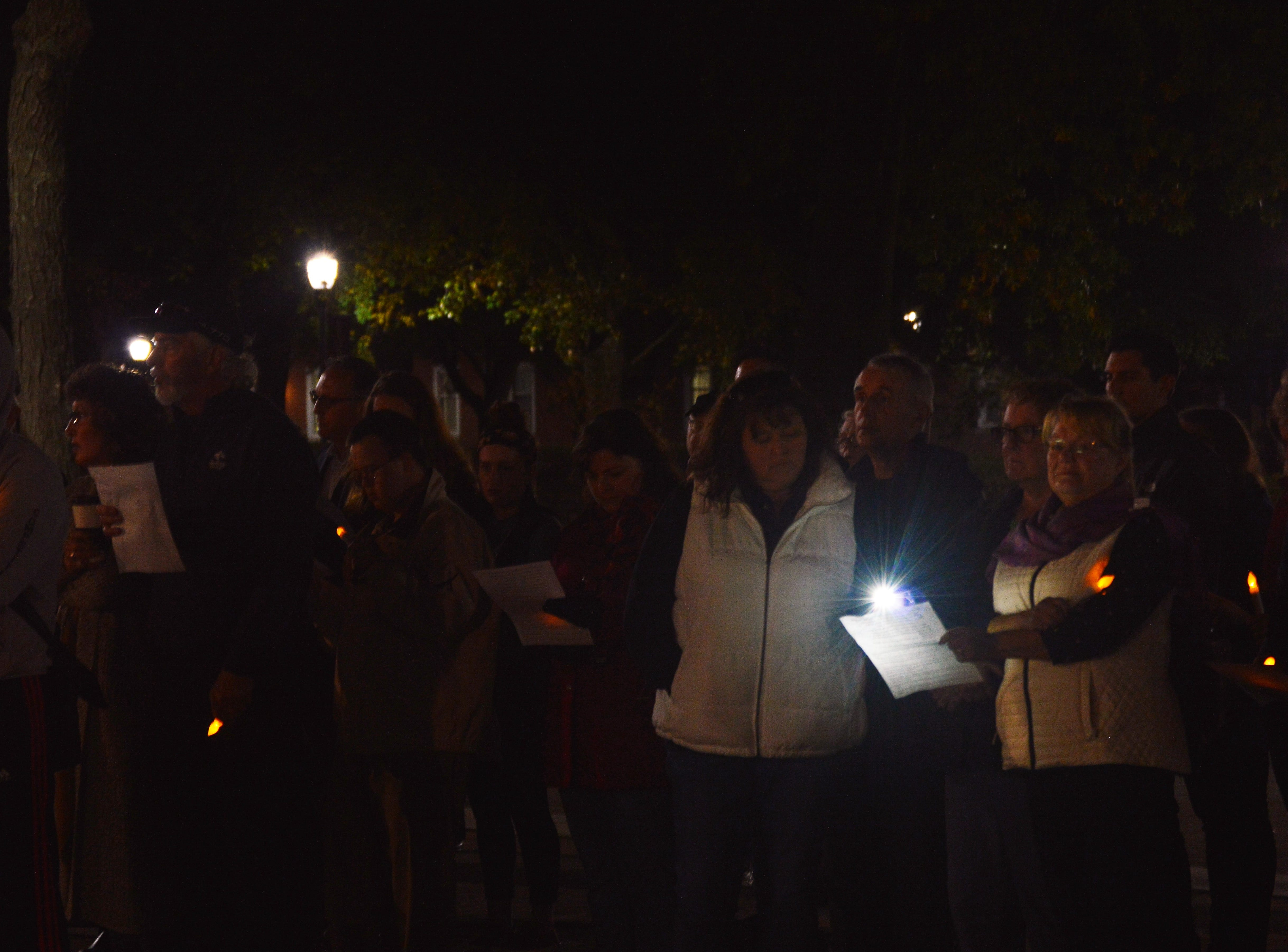 "Community members gathered in Salisbury University's Red Square for ""An Interfaith Vigil in Support of the Pittsburgh Tree of Life Congregation"" on Sunday, Nov. 4, 2018."