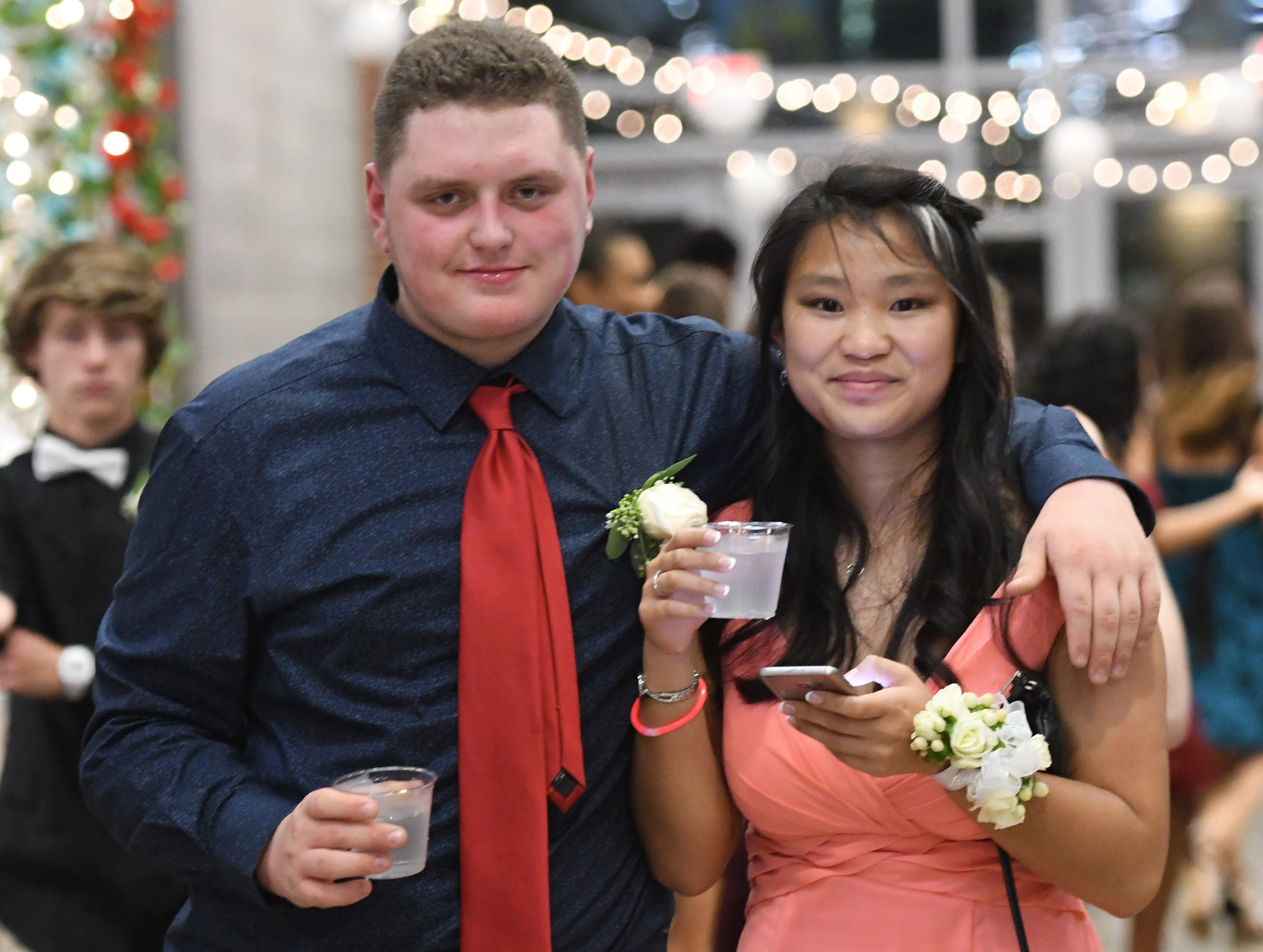 Treyee Wilson and Elliana Miller at James M. Bennett High School Homecoming Dance Saturday night at the school in Salisbury. 780 youth attended the annual dance.