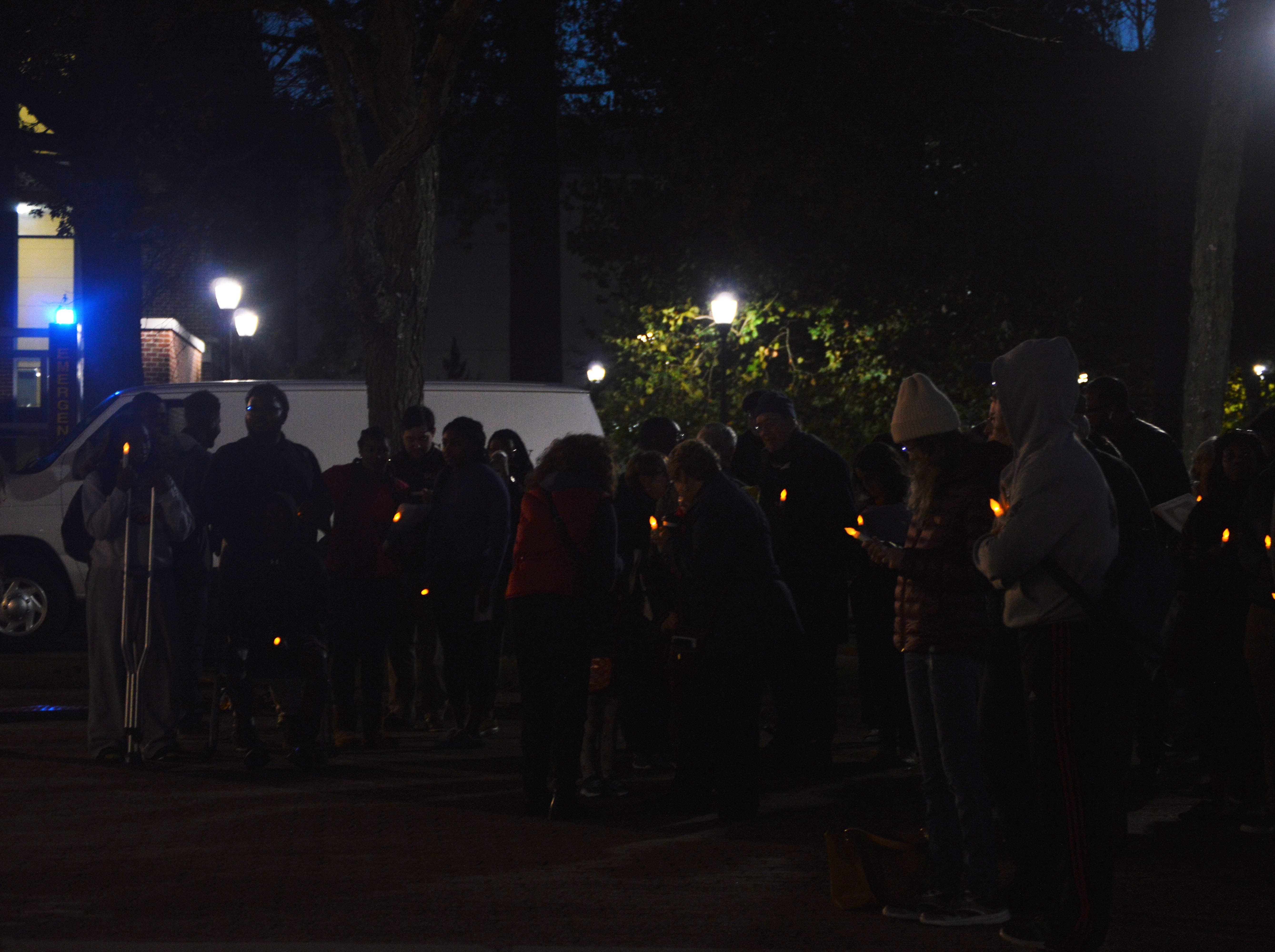 "Community members gathered for ""An Interfaith Vigil in Support of the Pittsburgh Tree of Life Congregation"" hosted by Salisbury University on Sunday, Nov. 4, 2018 in Red Square."