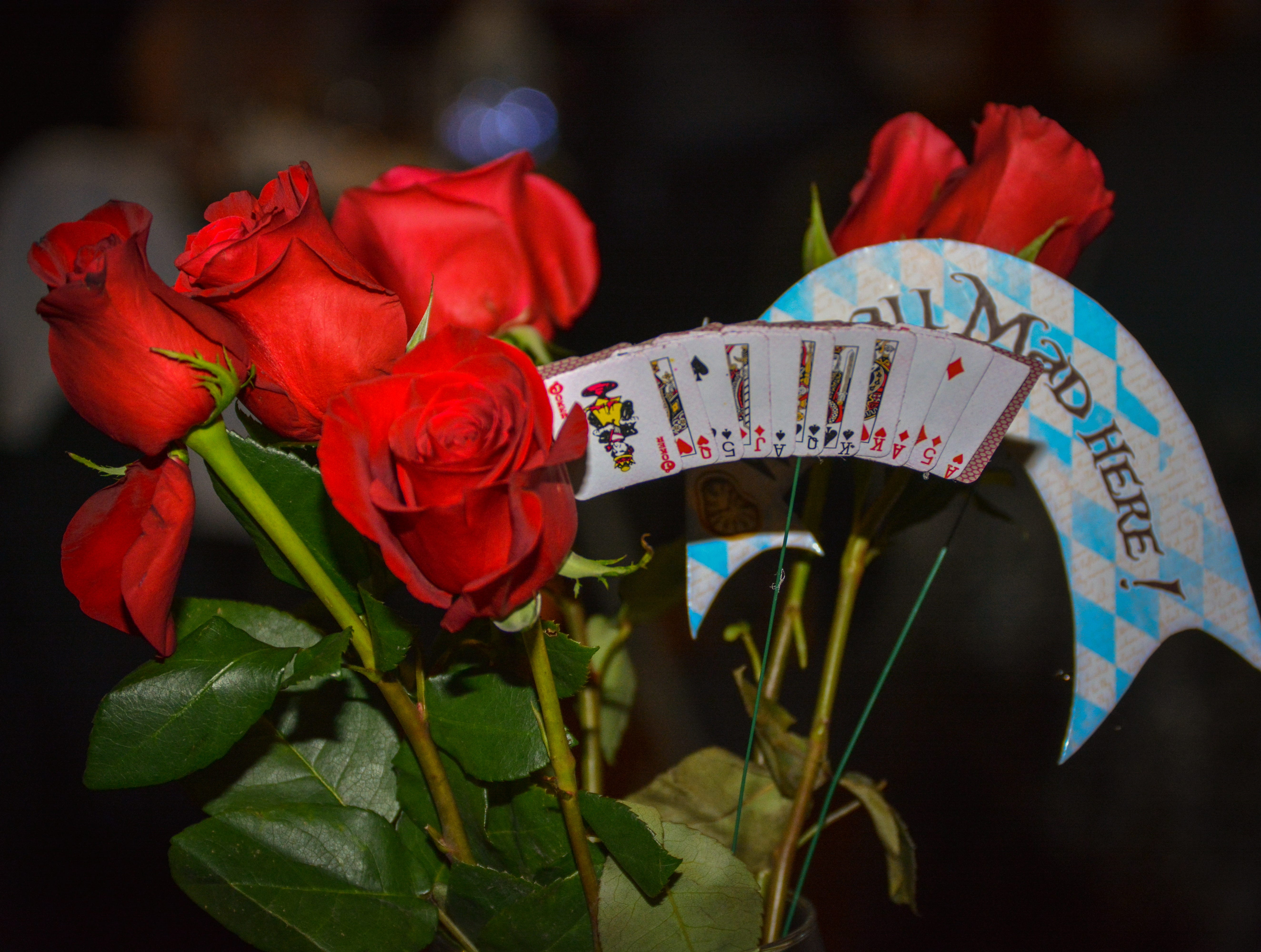 """A flower display at the Minds in Motion Museum """"A Wonderland Adventure Gala"""" on Nov. 3, 2018, held at the Wicomico Youth & Civic Center in Salisbury, Maryland."""