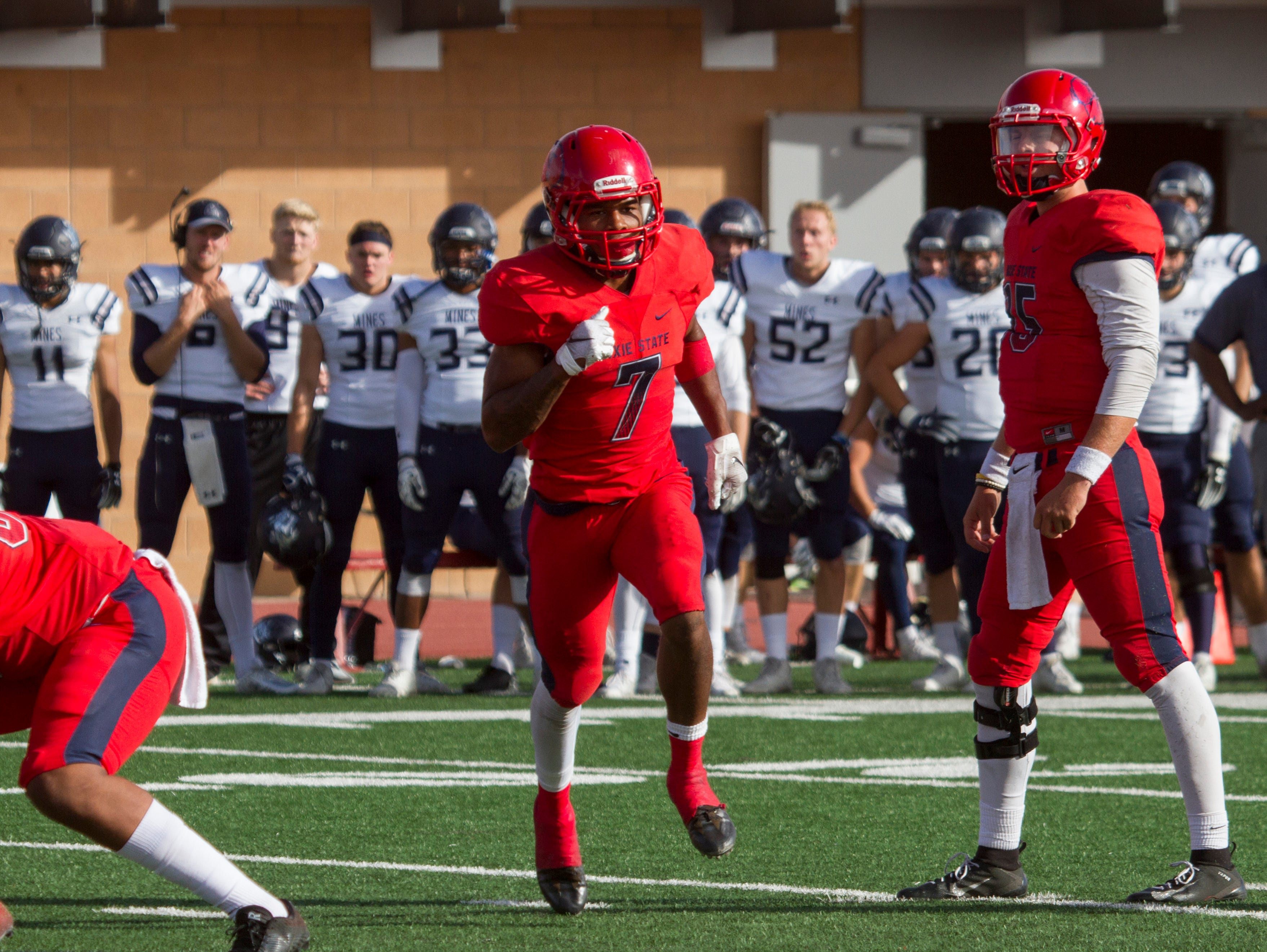 Wide receiver Dejuan Dantzler caught caught 11 balls for 241 yards in Dixie State's game against Colorado School of Mines on Saturday, Nov. 3, 2018.