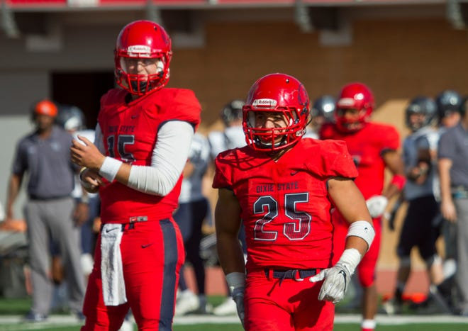 Dixie State QB Michael Sanders (left) and RB Sei-J Lauago (right) put on dominant performances in a 52-10 win over the Adams State Grizzlies on Saturday, Nov. 10.