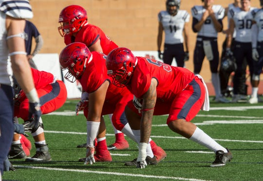 Dixie State's defensive line has impressed coach Paul Peterson throughout two weeks of spring practices.