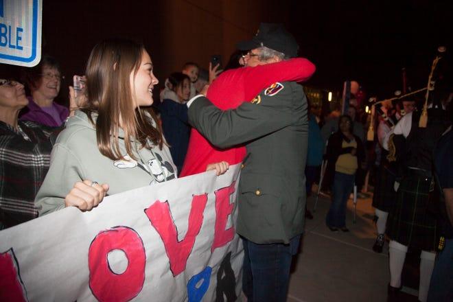 Veterans return from their Honor Flight trip to Washington D.C. Saturday, Nov. 3, 2018.