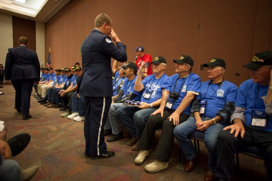 Veterans return from their Honor Flight trip to Washington D.C. Saturday, Nov. 3, 2018.