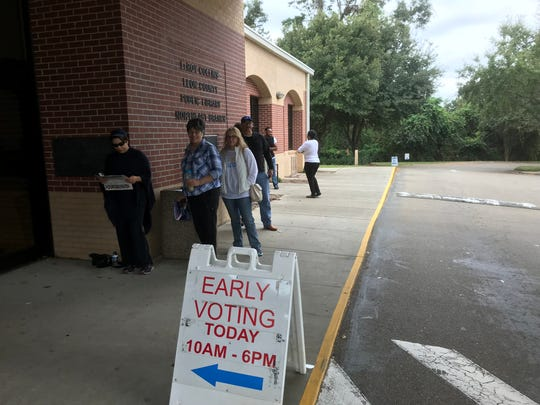 Voters line up and wait for the Northeast Library to open to cast their vote early in the 2018 mid-term.  Voters starting lining up 25 minutes before the doors open at the Thomasville Rd, branch library, the most popular of the county's nine sites.