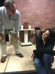 "Famous mathematician Robert (Dennis O'Donovan) shares a fatherly moment with daughter Catherine (Megan Pollak) in A.C.T. Studio Theatre's ""Proof."""
