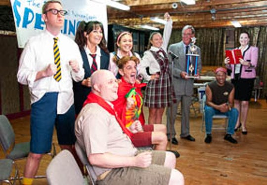 "The cast of The Barn Theatre's ""The 25th Annual Putnam County Spelling Bee Musical"" L to R:  L to R:  Seated - Kyle Weber, Austin Allen, & Jeff Scott; Standing - Ben Earman, Wendi Nicholson, Jenni Lawton, Zoe Flagg, Tom Farley, & Michelle Brown"