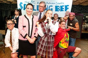 "Cast of The Barn Theatre's ""The 25th Annual Putnam County Spelling Bee Musical"", L to R: Ben Earman, Wendi Nicholson, Michelle Brown, Tom Farley, Zoe Flagg, Jenni Lawton, Austin Allen, Kyle Weber and Jeff Scott"