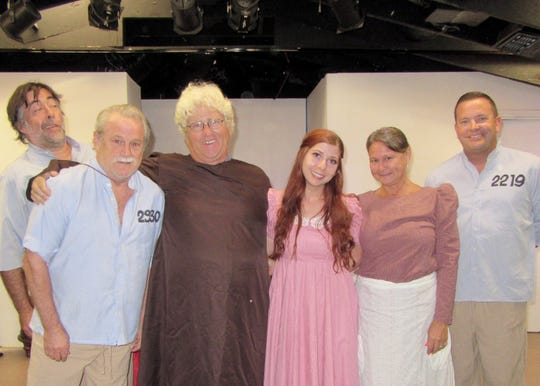 "The Pineapple Playhouse's cast of ""My Three Angels,"" L-R: David Tanner, Joe Moore, Dan Hafner, Amber Goldberg, Dawn Vancise, Alex Yahn."