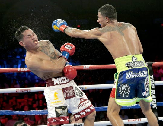 """Miguel Berchelt retained his WBC super featherweight title against Miguel """"Mickey"""" Roman of Juarez Saturday night at the Don Haskins Center. Berchelt won in a ninth-round TKO."""