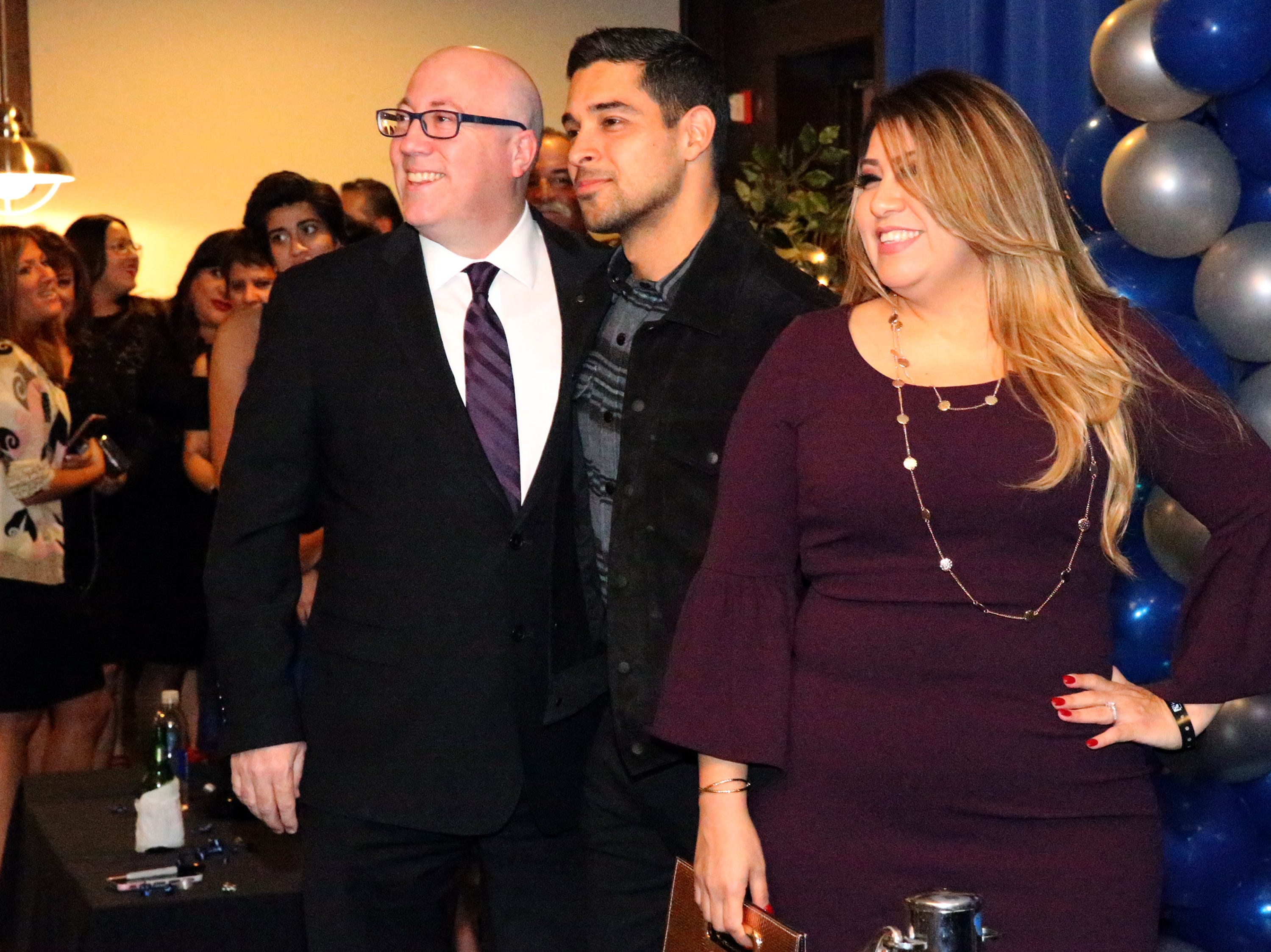 Actor/producer Wilmer Valderrama, center, poses for a picture with Jim and Isela Perricone during a private reception at the 28th El Paso Hispanic Chamber of Commerce annual Fiesta Celebration Saturday night at the Centennial Club at Fort Bliss. Valderrama was the featured guest at the event.