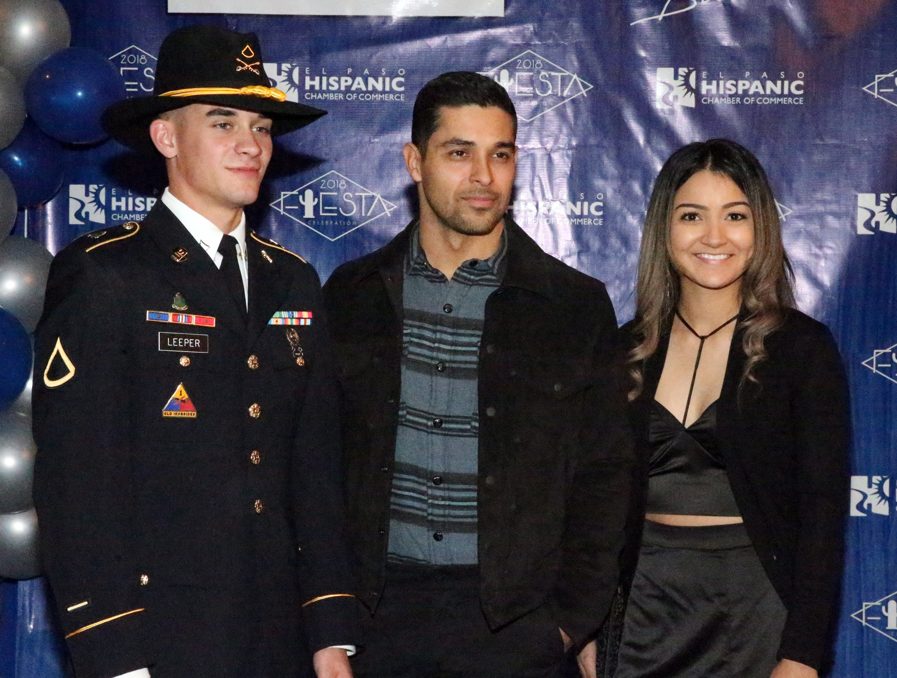 Actor/producer Wilmer Valderrama, center, poses with Pfc. Christopher Leeper and Lishme Becerra during a reception and greet at the 28th El Paso Hispanic Chamber of Commerce annual Fiesta Celebration Saturday night at the Centennial Banquet and Conference Center at Fort Bliss.