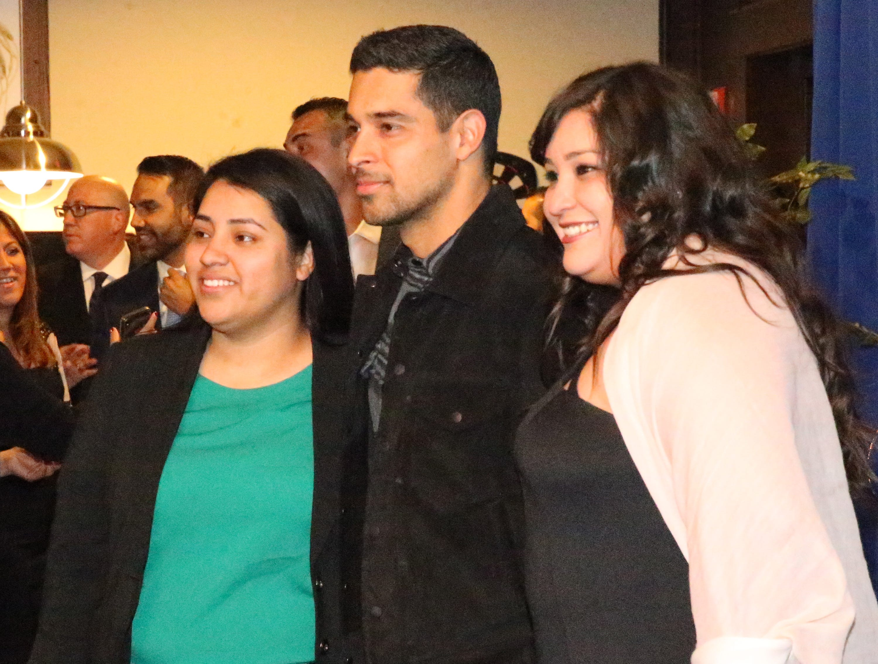 Actor/producer Wilmer Valderrama, center, poses for a picture with Briana Martinez, left, and Jenna Aguilar during a reception at the 28th El Paso Hispanic Chamber of Commerce annual Fiesta Celebration Saturday night at the Centennial Banquet and Conference Center at Fort Bliss.