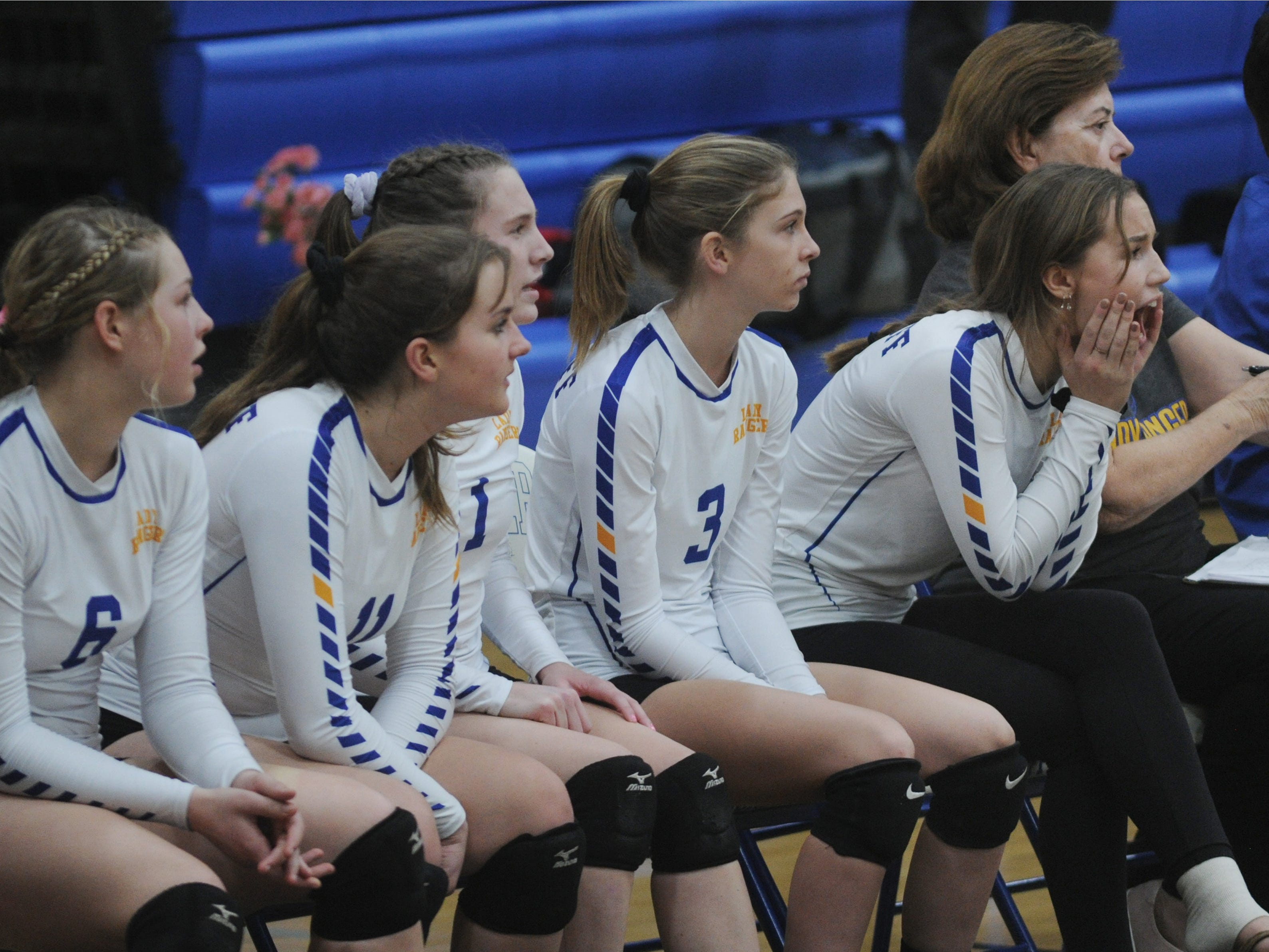 The Nordhoff High bench watches the action against Linfield Christian during the CIF-SS Division 7 girls volleyball final Saturday.