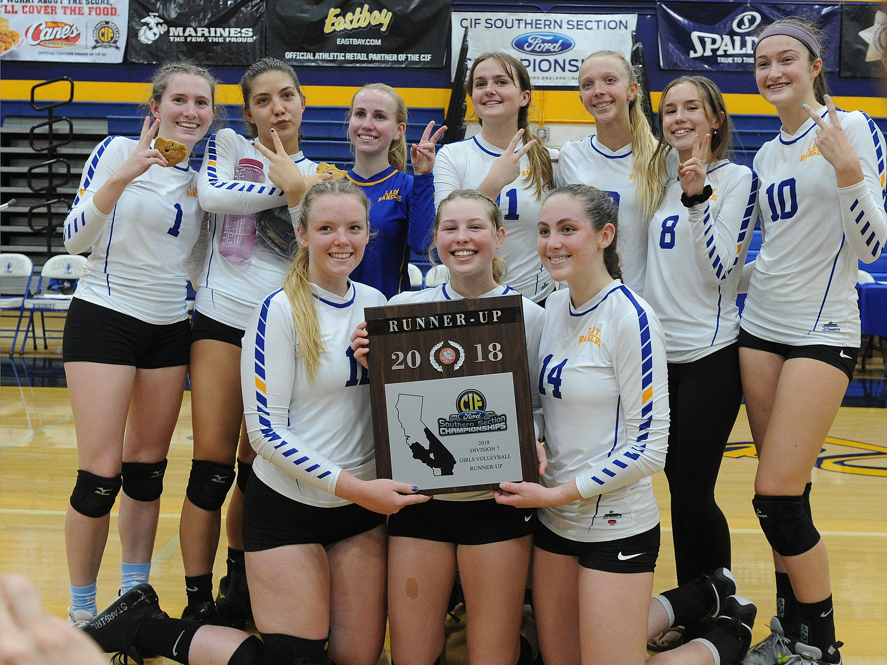 The Nordhoff High girls volleyball team poses with the runner-up plaque after a 3-1 loss to Linfield Christian in the CIF-SS Division 7 final Saturday.