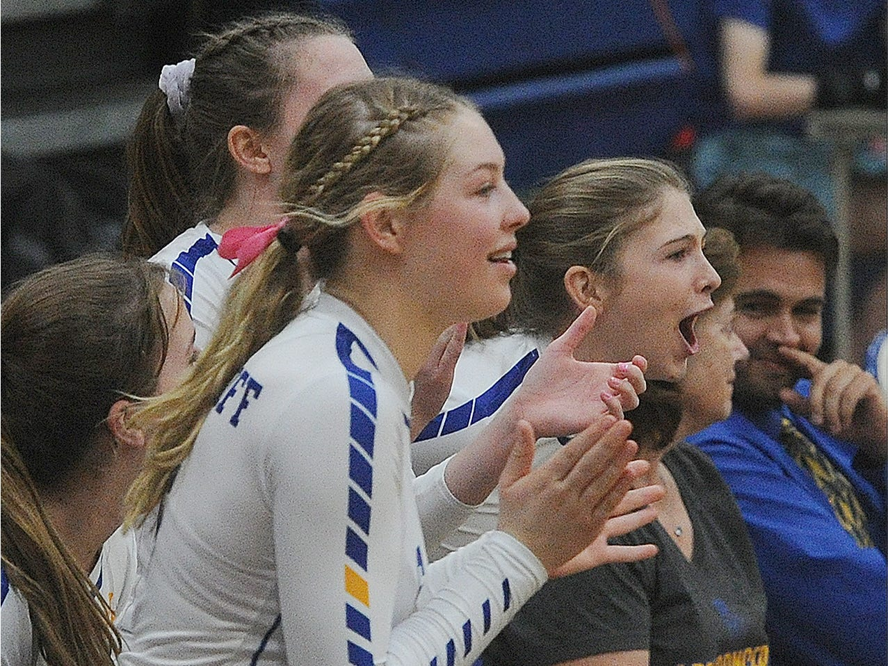The Nordhoff bench reacts after a point against Linfield Christian in the CIF-SS Division 7 final Saturday.