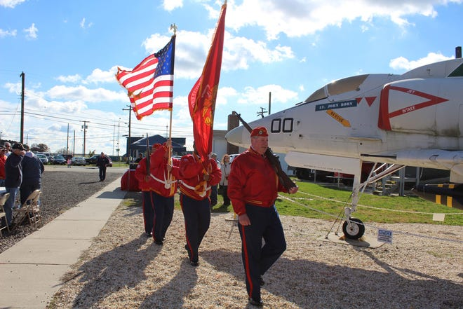 Semper Marine Detachment 205 presents the colors during the 17th annual Veterans Appreciation Day at the Millville Army Air Field Museum on Saturday.