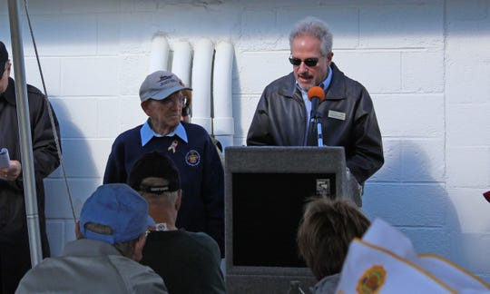 Robert Trivellini, vice president and educational coordinator at the Millville Army Air Field Museum, introduces World War II veteran George Washington Whitehouse during Veterans Appreciation Day on Saturday. Whitehouse was stationed at the Millville Army Air Field for about 15 months during the war.