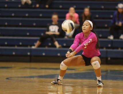 Hen Hud libero Pamela Loh (6) pulls in a dig during their 3-1 over Nyack in the girls class A volleyball section finals at Pace University in Pleasantville on Saturday, November 3, 2018.