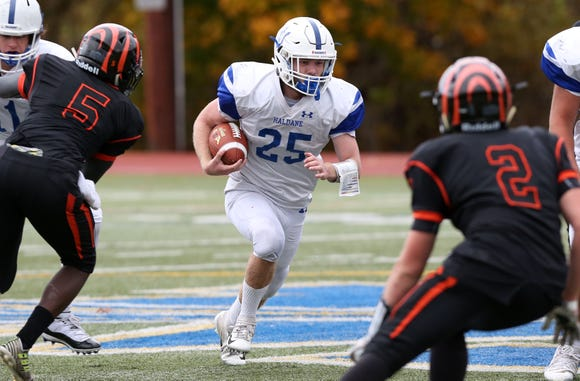 Haldane's Sam Giachinta (25) looks for some running room in the Tuckahoe defense during the Section 1 Class D championship game at Mahopac High School Nov. 3,  2018. Haldane won the game 18-6.