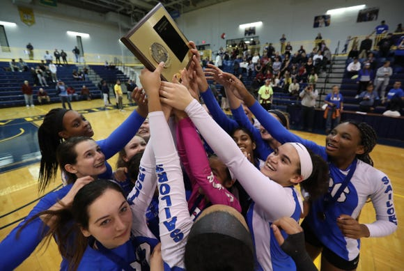 Hen Hud defeats Nyack 3-1 in the girls class A volleyball section finals at Pace University in Pleasantville on Saturday, November 3, 2018.