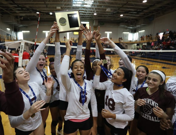 Ossining defeats North Rockland 3-2 to claim the girls class AA volleyball section title at Pace University in Pleasantville on Sunday, November 4, 2018.